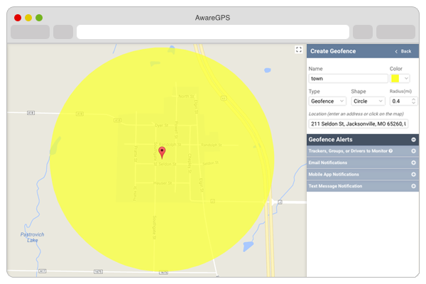 screenshot of awaregps locate feature